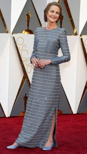Charlotte Rampling. Are we allowed to like the dress given the circs? Or not. Because the beaded square-boob patch-pockets, the crew neck and the sleeves are sort of excellent. And the shoes are a bit like the emoji keyboard shoes. Wardrobe done, now can she sort out the other stuff?