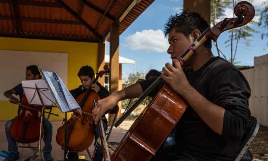 Rigoberto, 15, plays the cello.