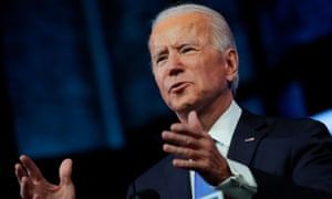 Joe Biden delivers a televised address to the US after the electoral college formally confirmed his victory, in Wilmington, Delaware Monday.