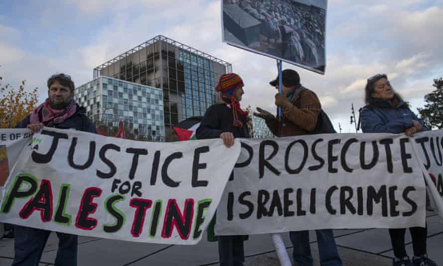 Demonstrators outside the international criminal court in The Hague in November call for the Israeli army to be prosecuted for war crimes
