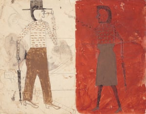 Bill Traylor's painting Man on White, Woman on Red given by Steven Spielberg to Alice Walker.