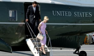National service … Steven Mnuchin and Louise Linton touch down.
