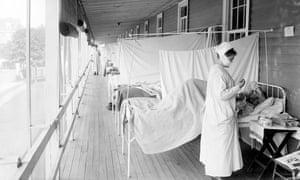 A flu ward during the 1918 flu pandemic.