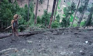 A view of damage caused to trees in hilly terrain after Indian jets dropped bombs in the Balakot area