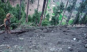 A photograph released by Pakistan of what it says was damage caused by bombing in Balakot