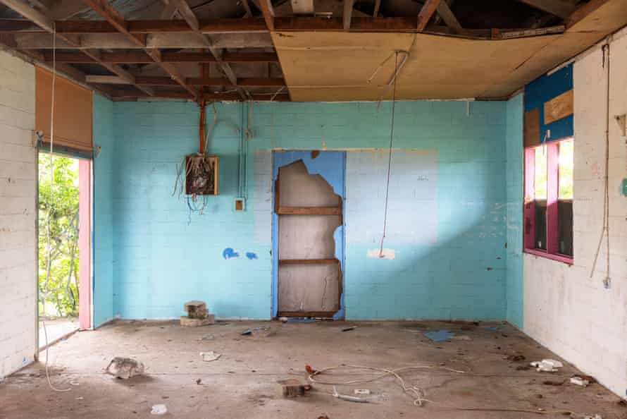 A run-down room where refugees were once housed.