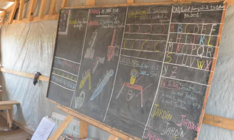 A lesson in a Unicef-funded temporary school in Bangui, Central African Republic