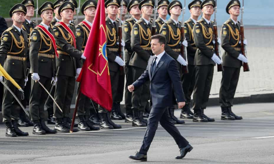 The Ukrainian president, Volodymyr Zelenskiy, takes part in a military parade in Kyiv to mark the 30th anniversary of its independence.