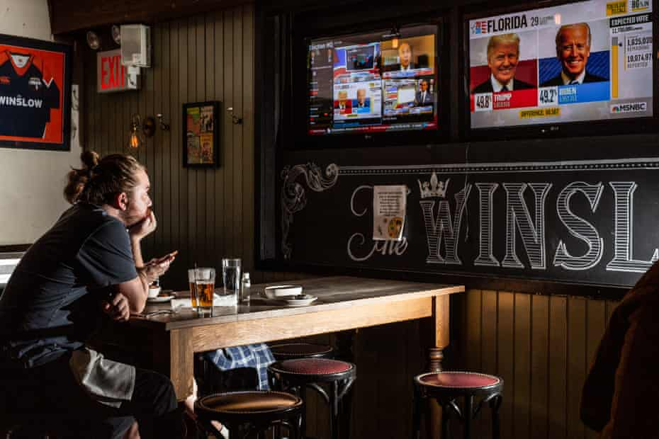 People watch election results at a The Winslow in Manhattan, New York on Tuesday, November 3, 2020.