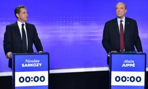 Sarkozy and Juppé in a debate before their party's primary in November.