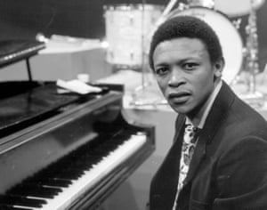 Masekela sits at a piano on an episode of the television program 'Dial M for Music,' May 1968