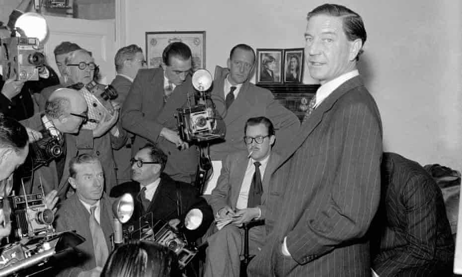 Kim Philby holds a press conference in 1955 after he was accused of spying for Russia. He fled to Beirut the following year.