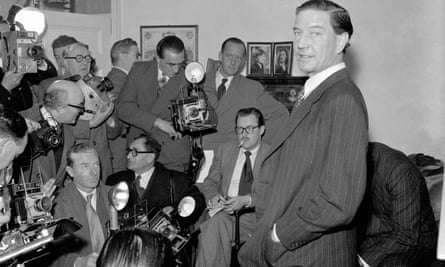 Kim Philby holds a press conference at his parents' home in London in 1955.