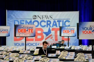 The spin room for the Democratic debate in Manchester, New Hampshire.
