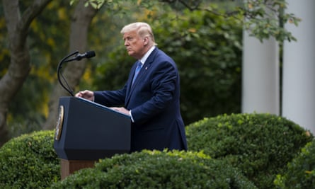 Donald Trump speaks about his coronavirus testing strategy from the Rose Garden of the White House on Monday 28 September.