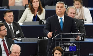 Hungary's prime minister, Viktor Orbán, in the European parliament