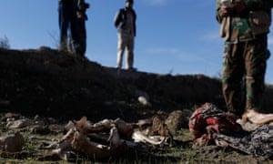 suspected mass grave of Yazidis in Sinjar