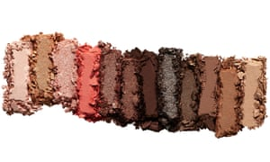 A row of shimmery brown make-up shades