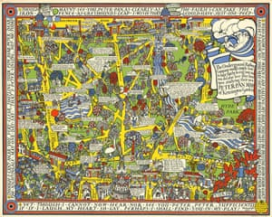 The Peter Pan Map of Kensington Gardens, by Macdonald Max Gill in 1923. Gill was an artist and graphic designer who is also responsible for the Wonderground map of London and the map mural in the First Class Drawing Room of the Queen Mary liner. This extremely rare artist's proof narrates the story of Peter Pan as told in J.M. Barrie's novel Peter Pan in Kensington Gardens. £8,500