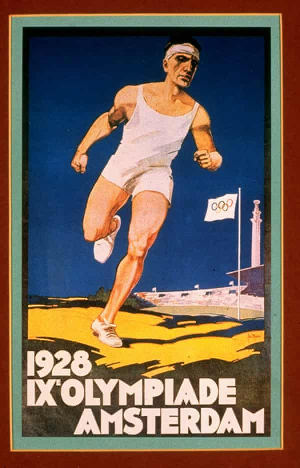 Stylised 1920s poster: a muscled white male runner wearing white singlet and shorts runs on yellow ground against a dark blue sky; in the distance a stadium and flag pole displaying flag with the Olympic rings. Text read: 1928 IX Olympiade Amsterdam.