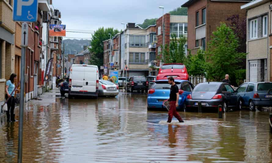 A flooded Belgium street on 16 July 2021
