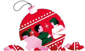 Illustration of broken Christmas bauble with people on it