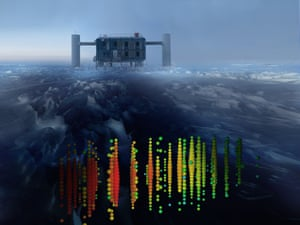 The coloured bubbles represent one of the highest-energy neutrino events recorded, superimposed on a view of the IceCube Lab at the South Pole.