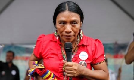 Thelma Cabrera, presidential candidate for the Movement for the Liberation of the Peoples party, takes part in a rally in Guatemala City earlier this month.