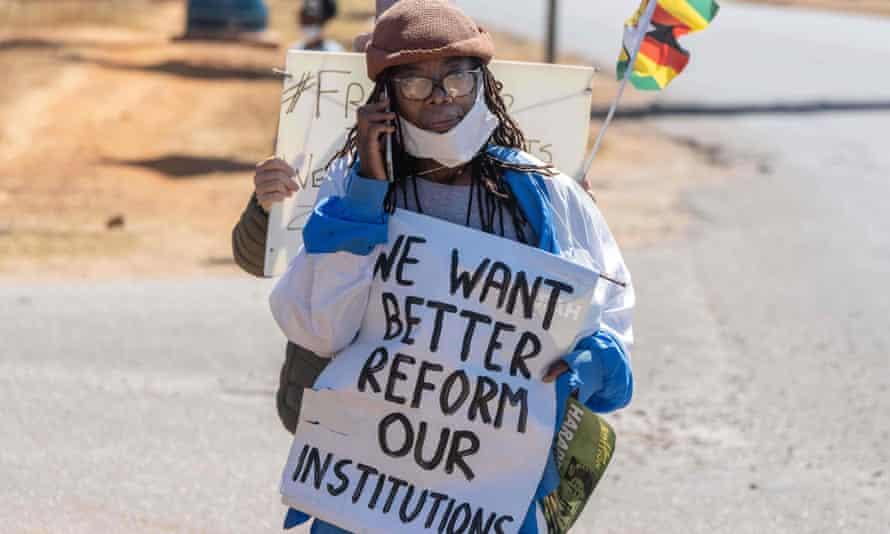 Tsitsi Dangarembga taking part in an anti-corruption protest march in Harare, Zimbabwe, July 2020.
