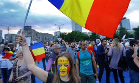 An anti-government protest in Bucharest, Romania, 12 May 2018.