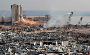 The aftermath of yesterday's blast is seen at the port of Lebanon's capital Beirut