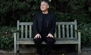 Kazuo Ishiguro holds a press conference from a bench in his London garden, after the announcement that he has won the Nobel prize for literature