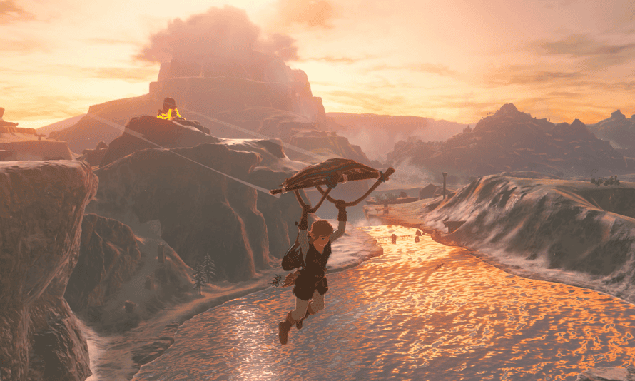Zelda screengrab showing Link gliding over a valley