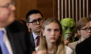 A Clean Water Action activist at a Senate committee nomination hearing for former energy lobbyist David Bernhardt to be interior secretary on Capitol Hill in Washington, 28 March 2019.