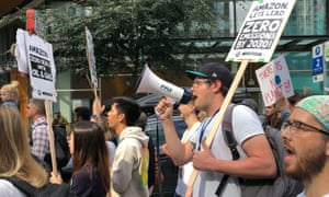 Nick Andrews, a program manager at Amazon, was a chant leader for the climate strike in Seattle.