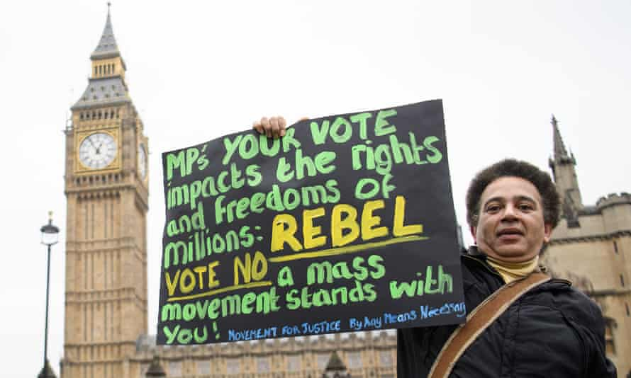 """A protester opposes the article 50 bill outside parliament: 'Labour is not convincing anyone right now that we are happy to accept the """"will of the people"""".'"""
