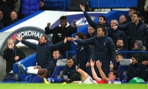The Chelsea bench demands action after Harry Maguire (right) clashes with Michy Batshuayi.