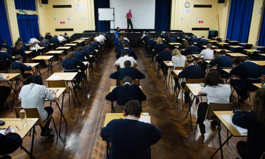 Pupils in an exam hall