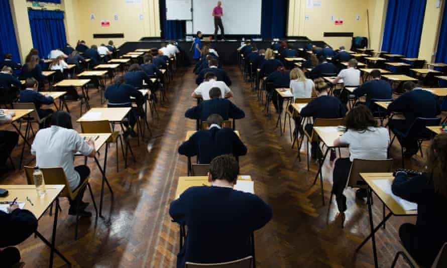 School pupils sitting GCSEs exams