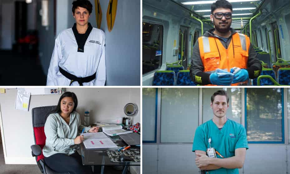 Clockwise from top left: taekwondo champion and teacher Kristy Busuttil; Melbourne train cleaner Fawad; Sydney doctor Brandon Verdonk; and year 12 student Zoe Latimore.