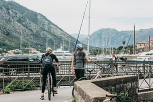 Montenegro, Kotor, June 27, 2018: Tourists or students on bicycles traveling in Montenegro