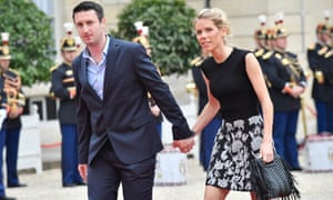 Emmanuel Macron's stepdaughter Tiphaine Auziere arrives at the Élysée Palace with her husband Antoine Choteau