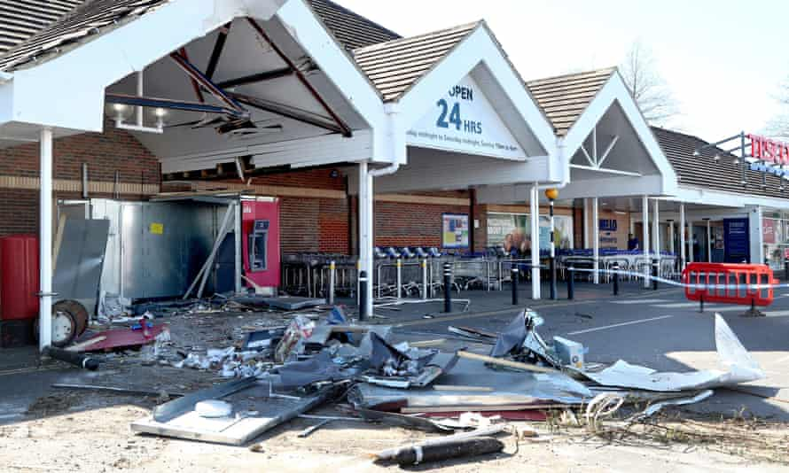 The scene at the Tesco Extra store in Whitfield, Dover, Kent