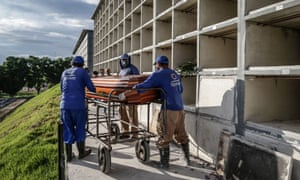 Gravediggers carry a the coffin of a coronavirus victim at the Sao Francisco Xavier cemetery on 7 January 2021 in Rio de Janeiro, Brazil.