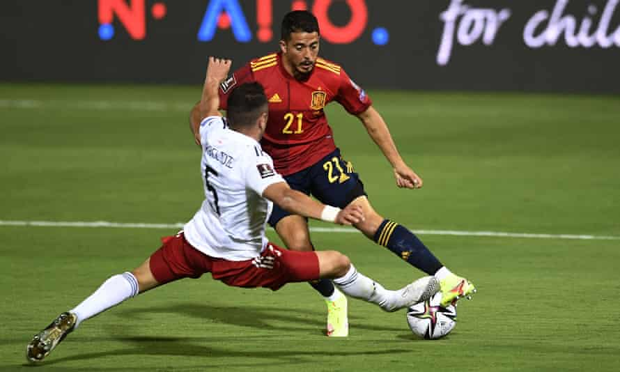 West Ham's Pablo Fornals in action for Spain against Georgia last weekend following his recall to the international squad.