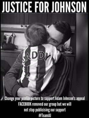 The 'Justice for Johnson' image posted on Facebook by Adam Johnson's sister