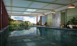 CGI of the spa at Another Place in Cumbria, with views over Ullswater