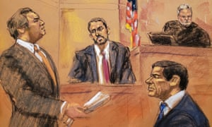 Defense lawyer Jeffrey Lichtman, left, questions FBI agent Paul Roberts, centre, on the witness stand during the trial of Joaquín 'El Chapo' Guzmán, right, in this courtroom sketch in Brooklyn federal court on Tuesday.