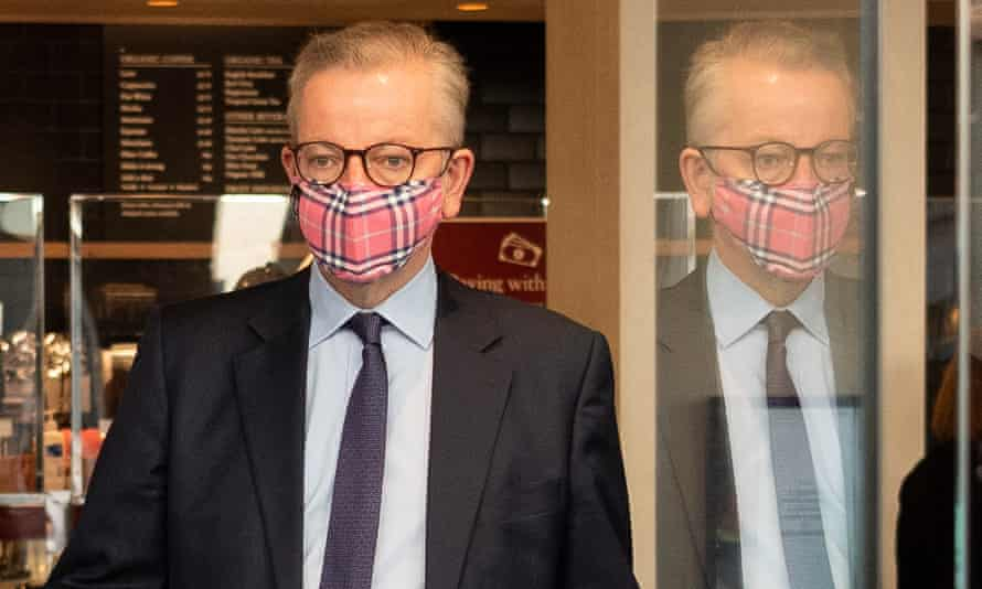 Michael Gove leaves a coffee shop in Westminster on Thursday