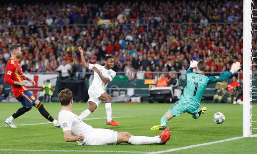 Raheem Sterling scores for England v Spain, Nations League, October 2018